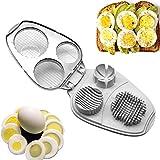 Eierschneider, 3 in 1, Edelstahl, manuelle Eierschneider  hart gekochte Eier Schneider Werkzeug...