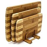 Relaxdays Schneidebretter Set 3 Größen mit Halter Küchenbretter aus Bambus gestreift Brettchen...