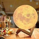 18cm LED Mond Lampe mit Fernbedienung,OxyLED Farbige Dekoleuchte 3D Mond Kunst LED RGB Mondlicht...