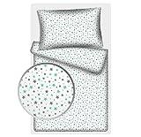 Kinderbettwäsche Stars 2-tlg. 100% Baumwolle 40x60 + 100x135 cm mit Reißverschluss (Ministars...