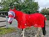 Equipride Pferde-Fliegendecke, mit abnehmbarem Hals und Fliegenmaske, 1,50 m bis 2,10 m, Rot