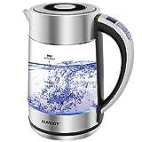 Llivekit Glas Wasserkocher, 1,7 Liter Elektrischer Wasserkessel Einstellbare Temperatur, LED...