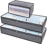 DIMJ 3 Stück Große Unterbettkommode, Faltbare Kleideraufbewahrung mit verstärkt Griff und...