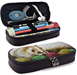 Easter Bunny Large Capacity Leather Pencil Case Durable Zipper Student Pouch Bag Pencil Box For Work...