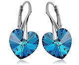 Crystals & Stones *Bermuda Blue* *HERZ* 14 mm - 925 SILBER Ohrringe Damen Ohrhänger mit Kristallen...