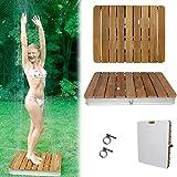 @tec Gartendusche Aussendusche aus massivem Teak-Holz, Mobile Bodendusche Campingdusche, Sauna- &...