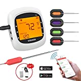 Soulcker Grillthermometer Bluetooth, Digital Wireless BBQ Thermometer Grill mit 4 Sonden, Funk...