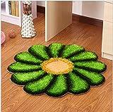 WCZ Teppich runde Teppiche Europäische Sonne Blume Grün Rutschfeste Schlafzimmer Wohnzimmer Nacht...
