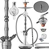 DILAW® MANYAK Shisha Set Hookah 93cm Aluminium Alu + LED Licht | Wasserpfeife Kaminkopf Komplettset...