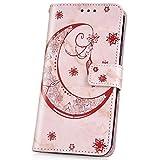 JAWSEU Schutzhülle aus PU-Leder für iPhone X/XS Marble moon Rose Gold