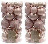 Decoris Christbaumkugeln, bruchsicher, Rosa, 2 x 30 Stück