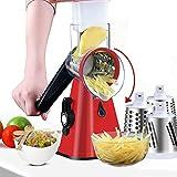 Rotary Käsereibe Manueller Multifunktionsschneider mit 3 Edelstahlklingen Reibe, sehr geeignet für...