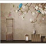 xbwy 3D Blumen und Vögel handgemaltes Haus Wandtapete Custom Poster Foto
