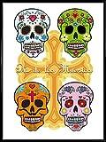 1art1 Totenköpfe Poster Kunstdruck und Kunststoff-Rahmen - Mexikanische Totenschädel, Calaveras...