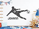 tjapalo s-pkm403 Wandtattoo Junge mit Namen Wandtatoo Fussball mit Namen und Wunschnummer (B100 x...