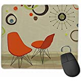 50S Stylin Retro Orange Stühle Coole Uhr Layered File Gaming Mauspad Nonslip Rubber Mouse Mat
