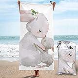 Tzshak Kaninchen Mutter küsst Bunny Strandtuch Badetuch Print Pool Handtuch Quick Dry Badetuch für...