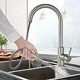 BONADE Küchenarmatur mit ausziehbare Brause 360° Drehbare Spültischarmatur Edelstahl Wasserhahn...