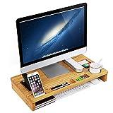 SONGMICS Monitorstnder aus Bambus, PC-Stnder, fr den Laptop, mit Stauraum, 60 x 8,5 x 30,2 cm,...