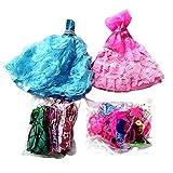 73 Stück Kleidung für Puppen 2 Kleider Brautkleider + 16 Freizeitröcke + 55 Accessoires inklusive...