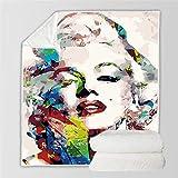 LSSFC Farbbild Marilyn Monroe-150X200cm,3D Gedruckte Kuscheldecke Flanell Mikrofaser,Geeignet für...