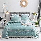 Tissage serr Vierteilige Bettwsche Bettbezug Baumwolle einfache Stickerei Bettwsche-Klein frisch_2,0...