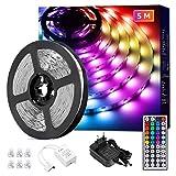 Lepro LED Strip 5M, LED Streifen Lichterkette mit Fernbedienung, Band Lichter, RGB Dimmbar...