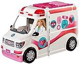 Barbie FRM19 - 2-in-1 Krankenwagen, aufklappbares Fahrzeug mit Licht und Geräuschen, Puppen...