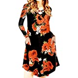TWIFER Kalte Schulter Sommerkleid Damen Casual Sommer Beach Party Kurzarm Sunflower Print A Line...