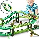 WOSTOO Dinosaurier Auto, Dinosaurier Spielzeug Autorennbahn Track Auto Kompatibel und 3 Dinosaurier...