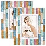 SZQINJI Bilderrahmen, 12,7 x 17,8 cm, rustikales Streifenholz mit High-Definition-Glas, für...