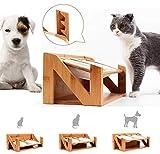 Am bulan Futterstation Katze Hundebar Holz Höhenverstellbar Bambus Doppel-futternapf für Katze...