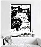 N / A Wohnzimmer Dekoration rahmenlose Wandkunst Leinwand Bild Wohnzimmer Katze Wand Wandbild Katze...