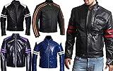 Herren Mayhem Gestreifte Biker Style Fight Club PU Leder Jacke Gr. XL, Rot – echtes Leder