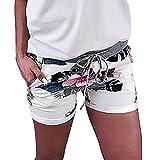 ZARU Mode Damen Hotpants, Casual Strand Shorts mit Blumendruck Dnne Stretch Shorts Hohe Taille Kurze...
