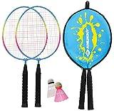 Schildkröt Kinder Federball Set Junior, 2 verkürzte Schläger 45,5 cm, 2 Federbälle, in 3/4...