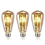 Tronisky Edison Vintage Glühbirne, Edison LED Lampe E27 4W Warmweiß Retro Dekorative Glühbirne...