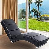 MIADOMODO® Wohnzimmer Relaxliege - Ergonomisch, Gepolstert, 154x51x73cm, Kunstleder, Schwarz -...