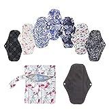 KafooStore 7-er Pack waschbare und wiederverwendbare Damenbinden aus Baumwolle, Bambusfasern und...