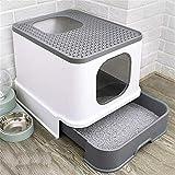 Qazxsw Cat Wurfkiste Doppeltürige Haustier-Toilette, leicht zu reinigender Vordereingang und oberer...