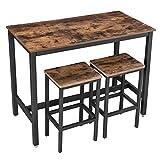 VASAGLE Bartisch-Set, Stehtisch mit 2 Barhockern, Küchentresen mit Barstühlen, Küchentisch und...