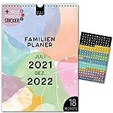 A4 Familienplaner 18 Mon.: Jul 21-Dez 22   COLOURS   5 Spalten   Wandkalender: 21x29,7cm  ...