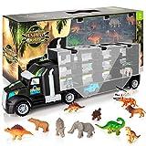 KIDWILL Dinosaurier Transporter Truck LKW, Dinosaurier Transportwagen mit 6 Dinosaurier Spielzeug /...