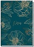 Notizbuch A5 liniert [Goldblüte] von Trendstuff by Häfft | 126 Seiten | ideal als Tagebuch, Bullet...