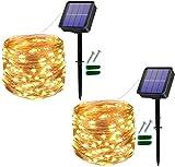 [2 Stück] Solar Lichterkette Außen, 12M 120 LED Lichterketten Aussen, Wasserdicht Kupferdraht...