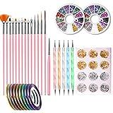 Chutoral Nagelkunst-Werkzeug-Set, 15-teilig, Nagelstift-Designer, Spiralspitze, Gold- und...