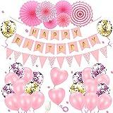 Geburtstagsdeko Mädchen Party Deko Geburtstag Ballons Rosa Geburtstag Dekoration Set mit Happy...