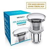 Bächlein Universal Ablaufgarnitur OHNE Überlauf fürs Waschbecken & Waschtisch - Chrom Pop Up...