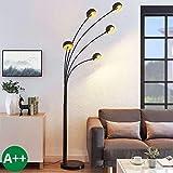 Lindby Stehlampe (Bogenleuchte) 'Muriel' (Modern) in Schwarz aus Metall u.a. für Wohnzimmer &...