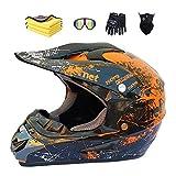 Motorradhelm,Motocross Helm,Helm Kinder,Helmets Kinder-Cross-Helm, Road Helm mit Handschuhe Maske...